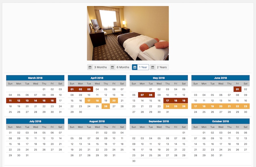 Vik Booking - Rooms Availability Calendars