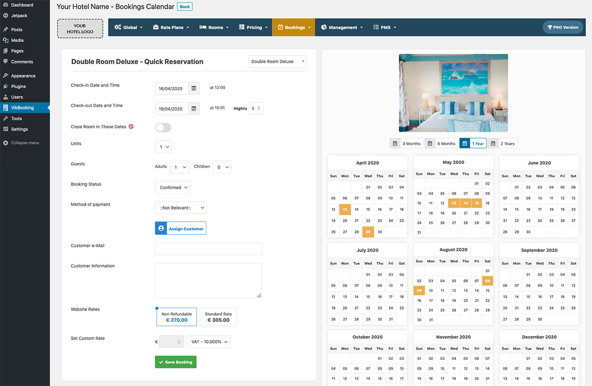 WordPress Hotel Vik Booking - Manual Reservations in page Calendar